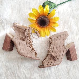 Jessica Simpson Tinnay Cream Block Heel Sandals